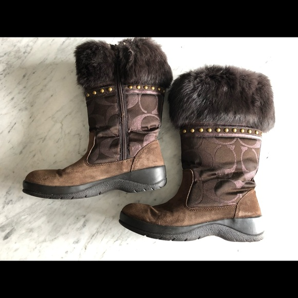 Coach LESLY leather and fur boots